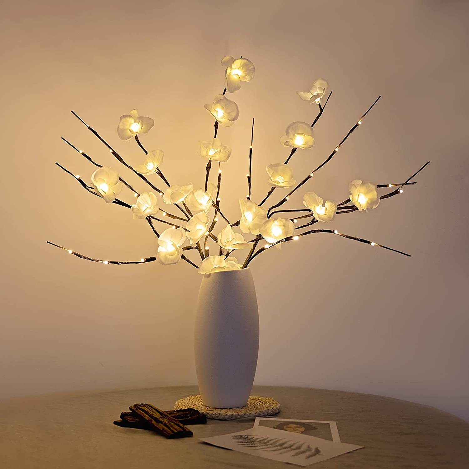 Home Decorations for Living Room, Table Lamp Battery Operated, Esova Lighted Branches and Flowers 3 Pack 60 LEDs, Lights for Bedroom Decor (Vase is not Included)