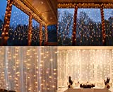 indoor icicle lights led - String lights Window Curtain,300 LED Icicle Fairy Twinkle Starry Lights-UL Listed for Indoor and Outdoor, Wedding, Christmas, Home Bedroom Wall Decoration, Party (9.8ftx9.8ft,Warm white)