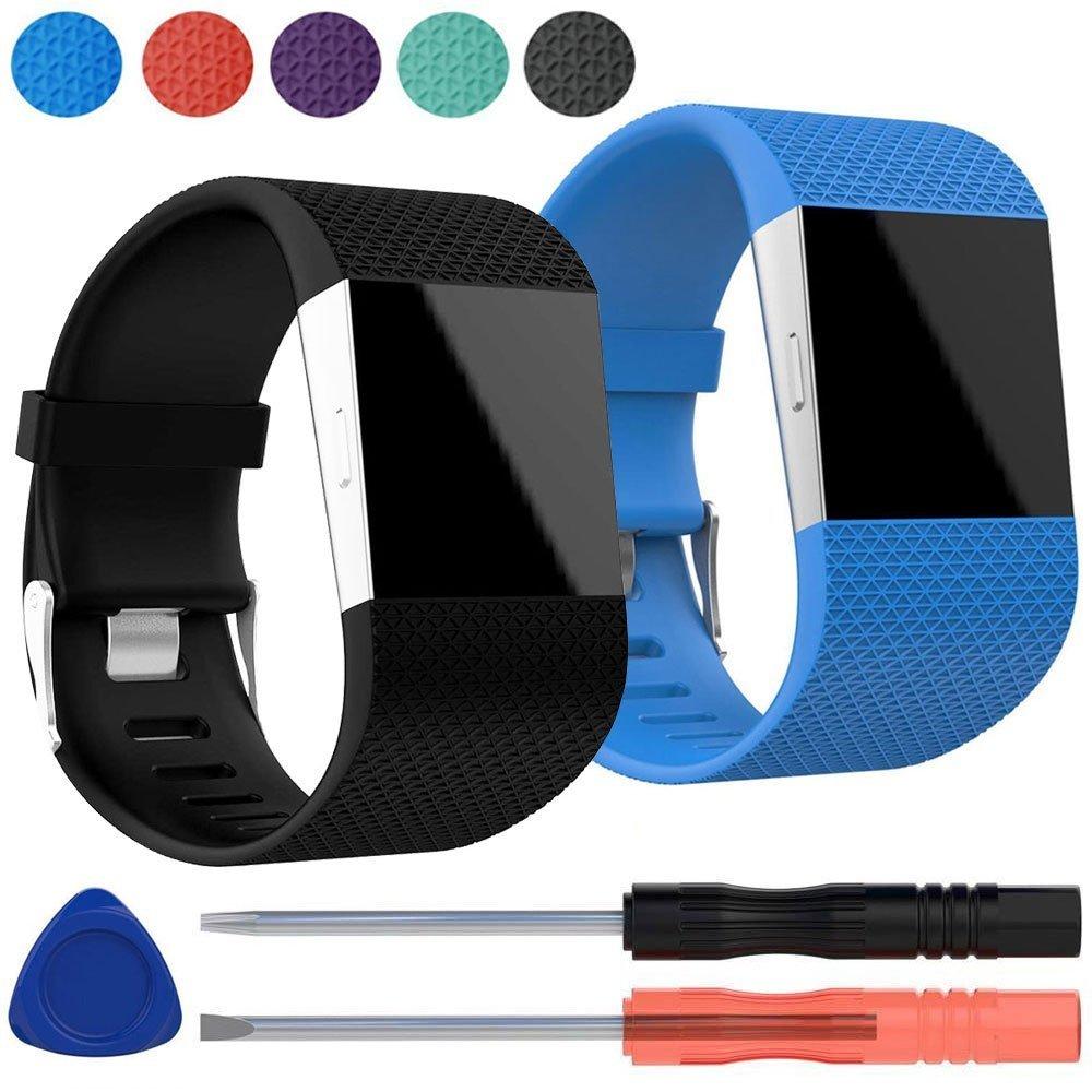 EEEKit 2 Packプレミアムシリコン交換用リストバンドストラップメタルバックルクラスプ付きFitbit Surge腕時計Fitness Trackerなど、スクリュードライバーツールキット B075R4TRQGブラック+ブルー