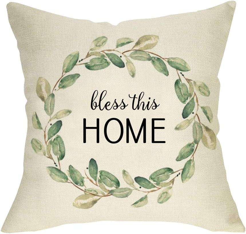 FBCOO Bless This Home Decorative Throw Pillow Cover, Farmhouse Cushion Case Olive Branch Wreath Sign Home Decorations, Spring Summer Square Pillowcase Decor for Sofa Couch 18 x 18 Inch Cotton Linen