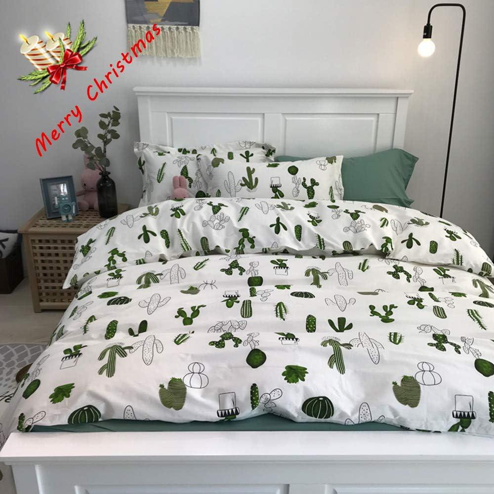 "HORIMOTE HOME Boys Duvet Cover Twin, 100% Cotton Bedding, Cactus Icon Pattern Reversible Printed Cute Carton Blue Duvet Cover for Kids, 69"" x, No Comforter90"