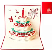 Creative 3D Greeting Card Handmade Paper Carved Hollow Birthday Cake Candle Red