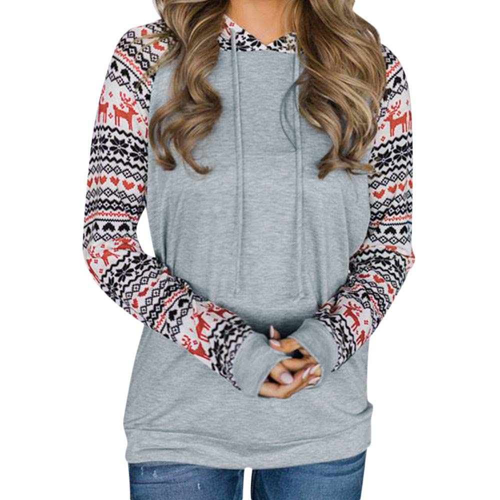 FarJing Women Christmas Printing Hooded Sweatshirt Pullover Blouse