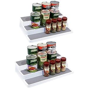YCOCO 3-Tier Spice Rack Step Shelf Cabinet Non Skid Kitchen Organizer Waterproof 2 Pack