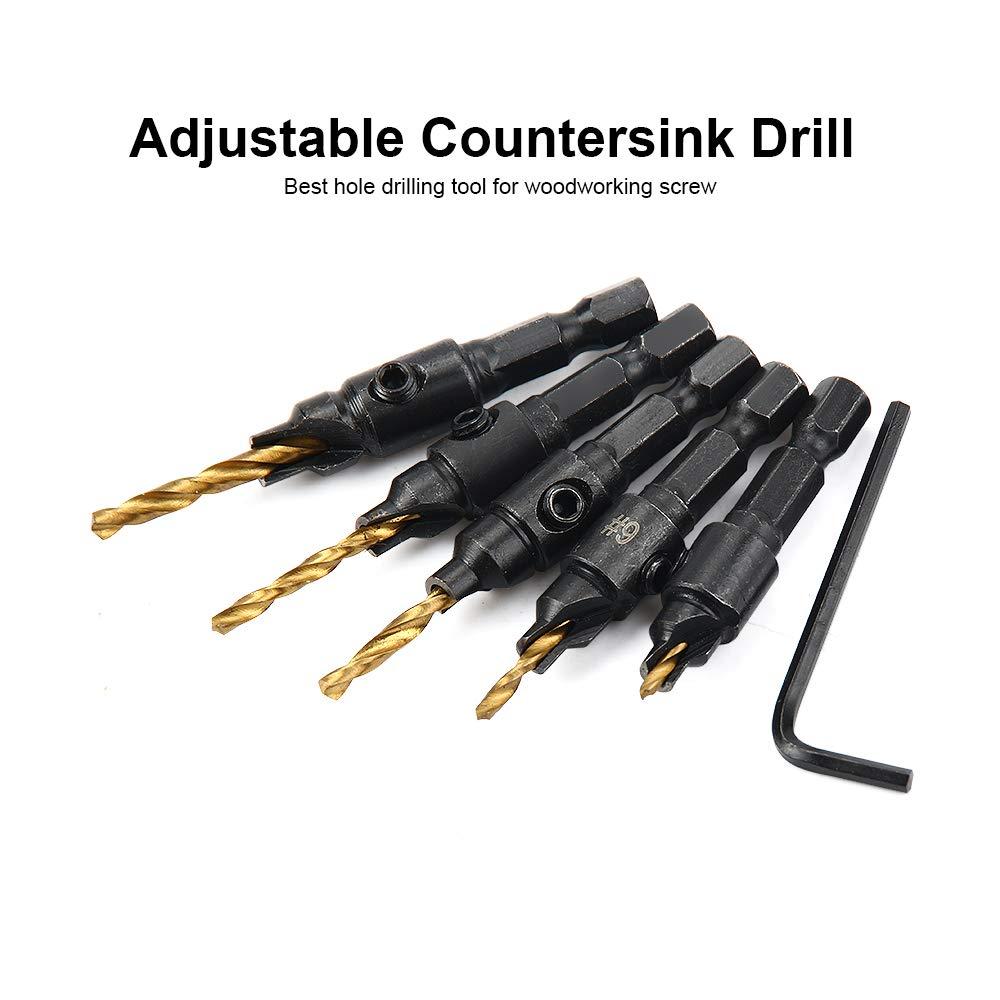 5Pcs HSS Countersink Drill Bit Set Counter Bore Hex Shank Screw 5# 6# 8# 10# 12#
