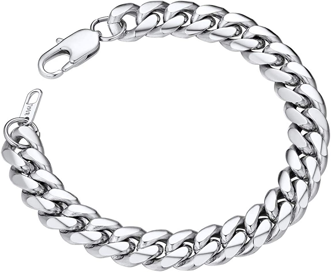 19//21CM Length with Gift Box 18K Gold Plated//316L Stainless Steel//Black 3//6//9//12//14mm Width ChainsPro Mens Sturdy Cuban Link Chain Bracelet