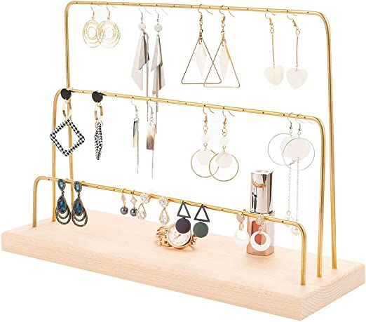 Earrings Necklace Ear Studs Jewelry Display Rack Metal Stand Holder Stand