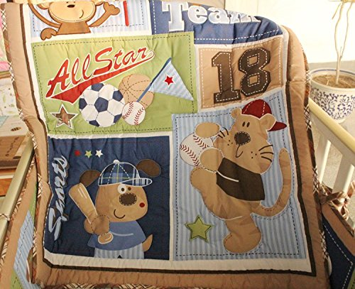 NAUGHTYBOSS Boy Baby Bedding Set Cotton 3D Embroidery Bear Play Baseball Pattern Quilt Bumper Fitted Bed Skirt Urine Bag Blanket 9 Pieces Set by NAUGHTYBOSS