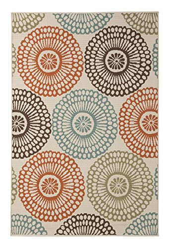 Ashley Furniture Signature Design - Holliday Area Rug - 8' x 10' Large Size - Casual - Cream/Green/Orange/Blue