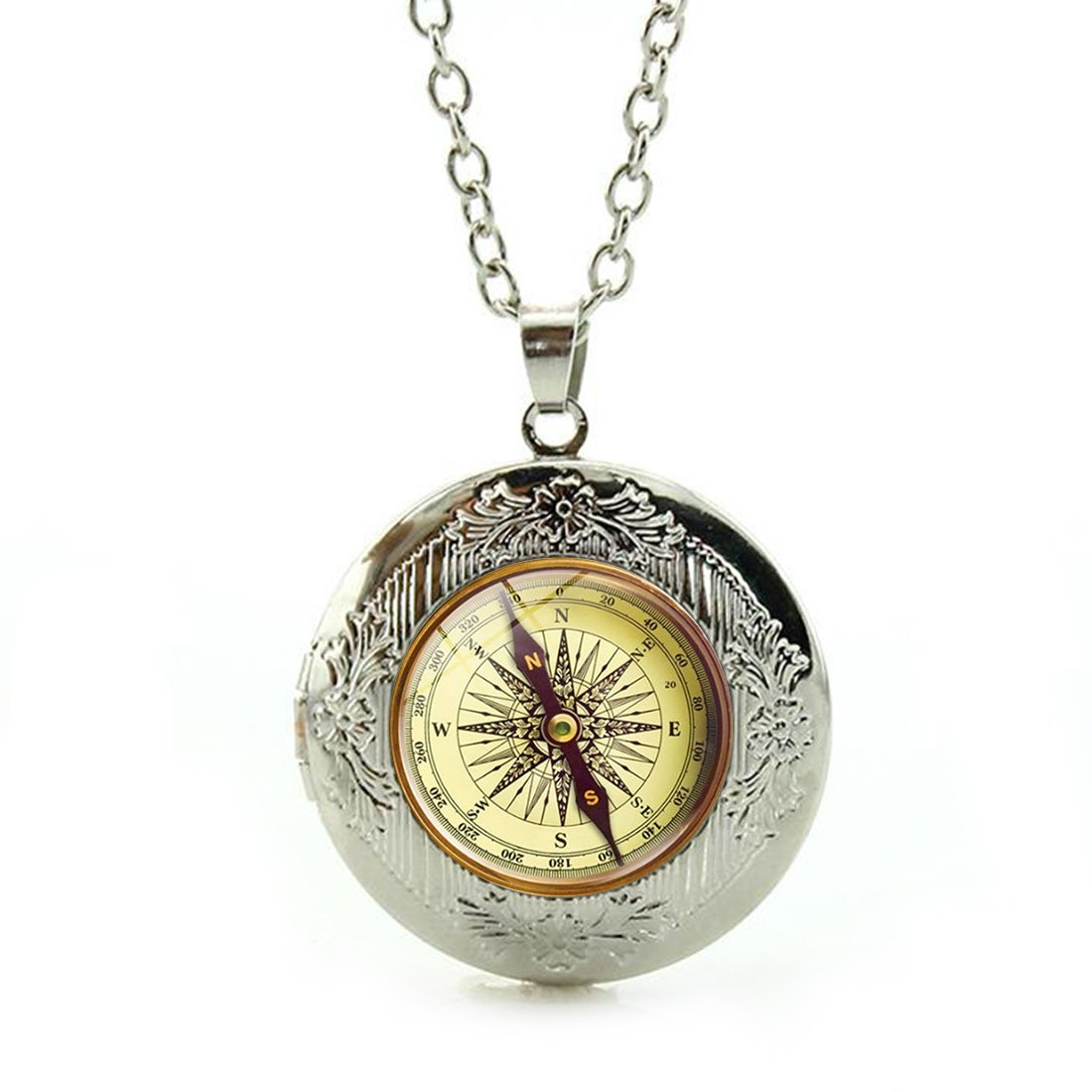 Women's Custom Locket Closure Pendant Necklace Retro Compass Art Antique Included Free Silver Chain, Best Gift Set