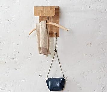 Amazon.com: YMJ - Perchero de pared de madera maciza (11.8 x ...