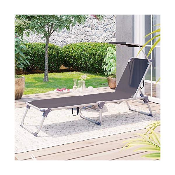 61TSt52uJNL SONGMICS Sonnenliege, Liegestuhl, Gartenliege, mit Sonnendach, Rückenlehne verstellbar, klappbar, leicht, 55 x 193 x 31…