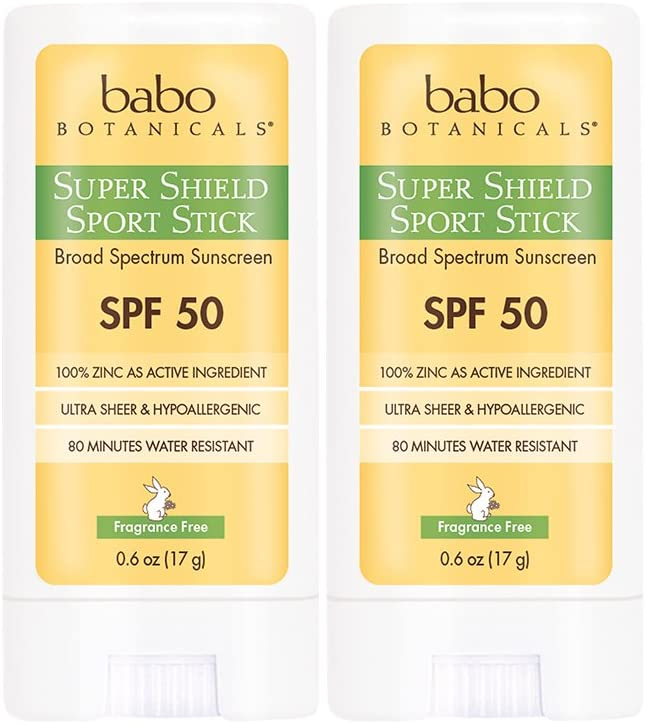 Babo Botanicals Super Shield SPF 50 Natural Sport Stick Fragrance Free Sunscreen, Unscented, 0.6 Ounce(Pack of 2)
