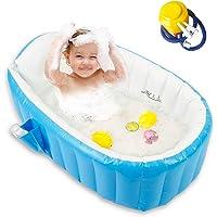 Baby Inflatable Bathtub, Portable Bathtub Infant Toddler Non Slip Bathing Tub Travel Bathtub Mini Air Swimming Pool Kids…