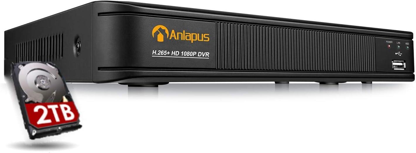 Anlapus 2MP 8 Canales Videograbador DVR 2TB Disco Duro, para 1080P Sistema de Vigilancia, P2P
