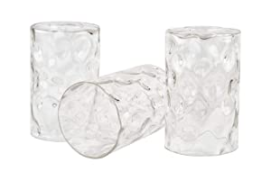 """Kira Home Armada II 6.5"""" Glass Shades, Clear Hammered Replacement Glass, 1.75"""" Fitter Size, 6.5"""" x 4"""", 3-Pack"""