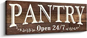 Pantry Sign Rustic Wood Color Canvas Wall Art Print Sign 6x17 (Pantry, Brown)