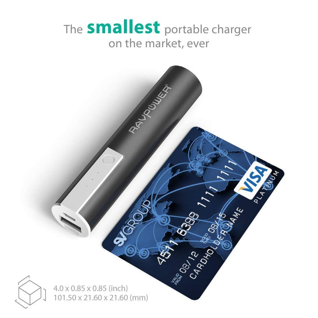Portable Chargers RAVPower Luster Mini 3350mAh External Battery Pack Battery Bank External Phone Charger Power Pack Most Compact Power Bank with iSmart Technology for Smartphones and More Black