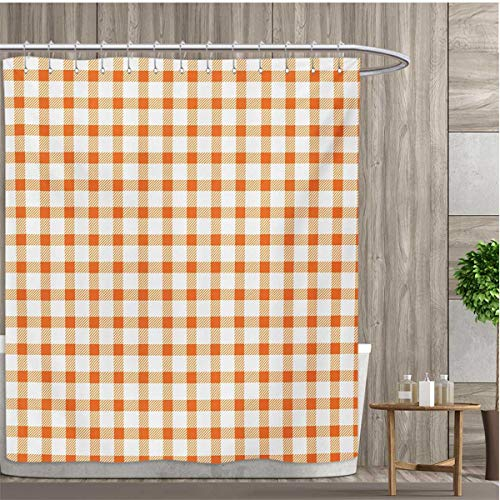 smallfly Orange and White Shower Curtains Sets Bathroom Retro Gingham Style Checkered Squares Pattern in Warm Colors Plaid Satin Fabric Sets Bathroom 66