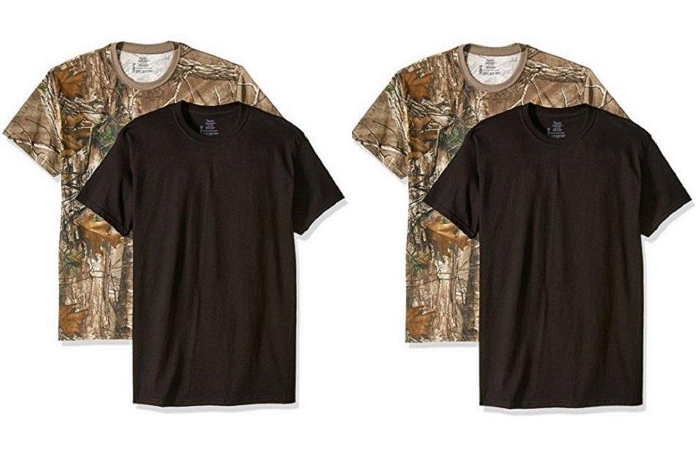 Hanes Men's ComfortSoft T-Shirt (Pack of 4),2 Black-2 Realtree,XLarge