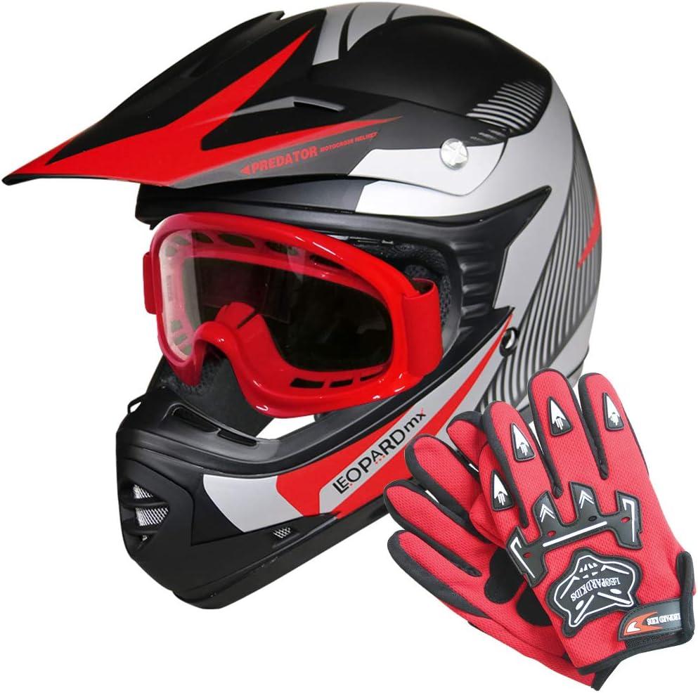 Leopard LEO-X19 PREDATOR { Kids Motocross Helmet /& Gloves /& Goggles 5-6 Yrs Red L } Child Dirt Bike Motorocycle Helmet Clothing Suit S