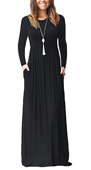 f0690dc4d523 Viishow Women s Long Sleeve Loose Plain Maxi Dresses Casual Long Dresses  with Pockets at Amazon Women s Clothing store