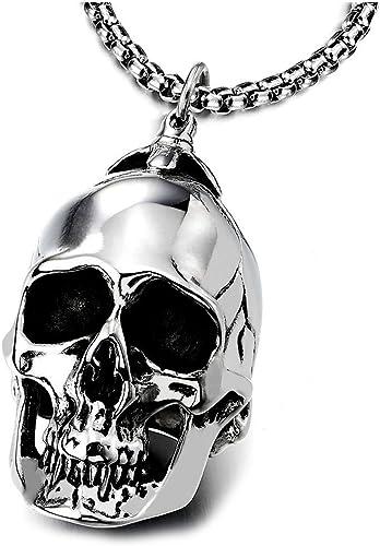 COOLSTEELANDBEYOND Spada Cranio Ciondolo Catena del Grano 75CM Gotico Biker Collana con Pendente da Uomo Acciaio Inossidabile