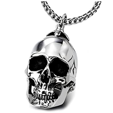 1a6b85e69038d Large Stainless Steel Skull Pendant Necklace for Men High Polished with 30  Inches Wheat Chain