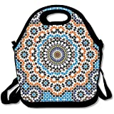 Moroccan Ceramic Tile Inspired Floral Arabic Old Fashioned Cultural Mosaic Print Lunch Bag Tote For School Work Outdoor