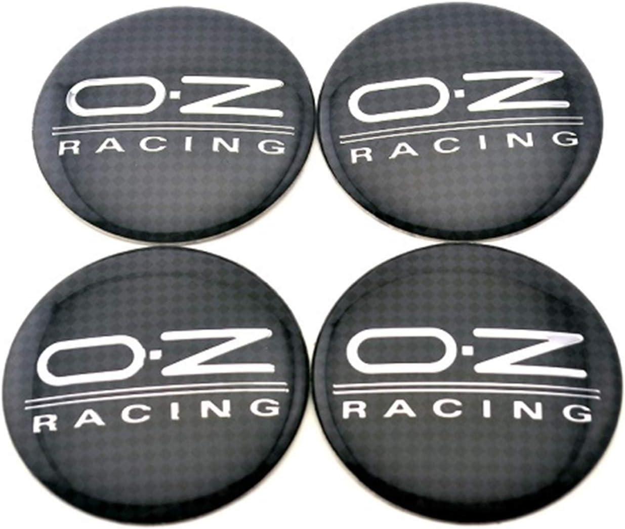 56,5 mm tap/ón central rueda de resina plata modelo negro OZ insignia logo Sign Sticker 4 unidades//lote 4 dimensiones