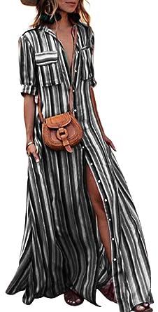 99b475738d6 Womens Striped Slit Button Down V Neck Short Sleeve Maxi Shirt Dress ...