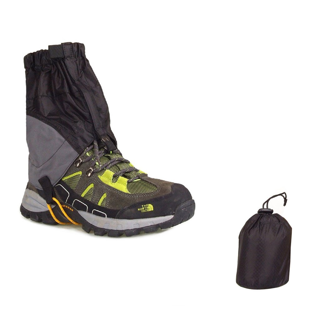 USHINING Outdoor Waterproof Essential Ankle Walking Gaiters Ultra-Light Low Trail Gaiters(1 Pair) -Black by USHINING