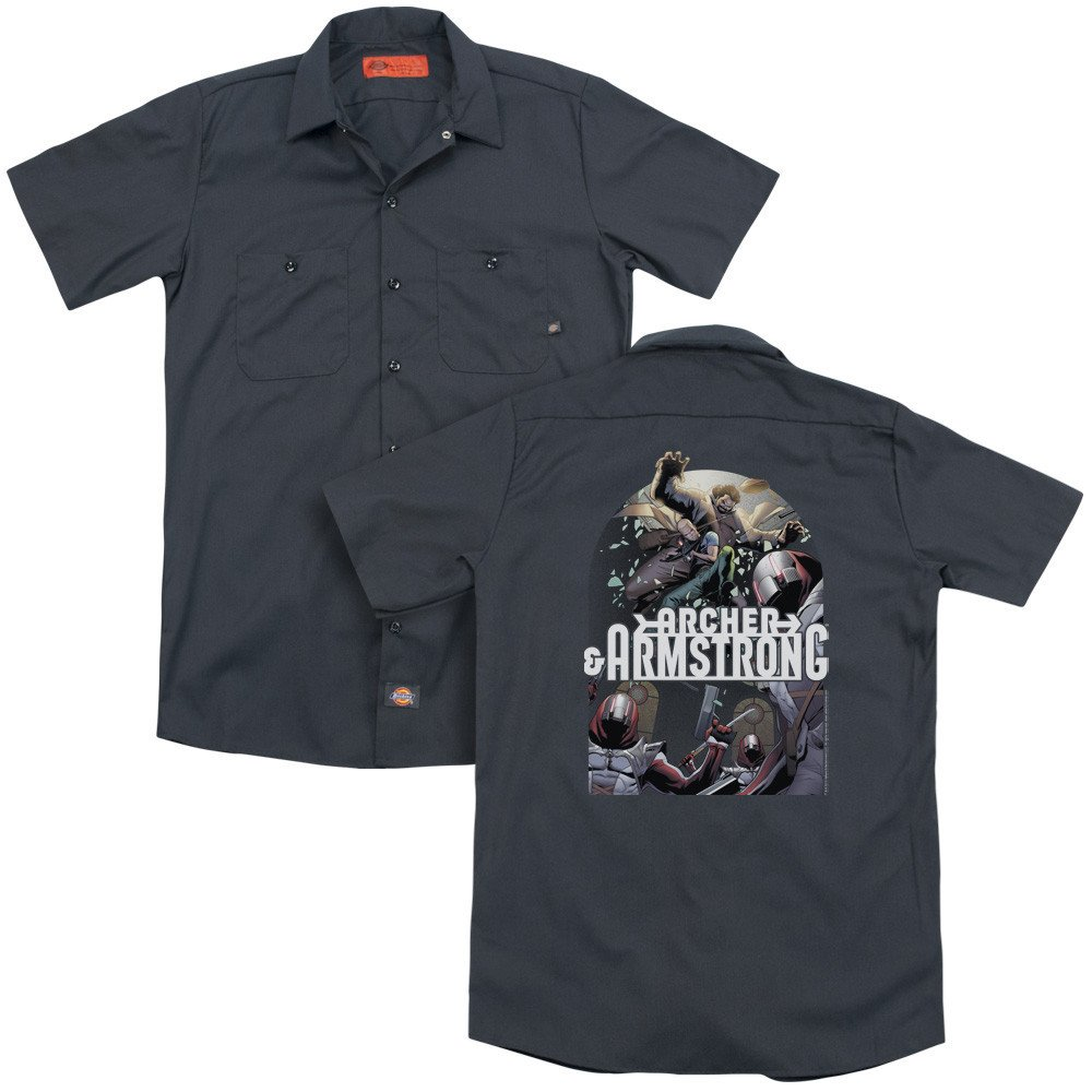 Archer /& Armstrong Dropping In Adult Work Shirt