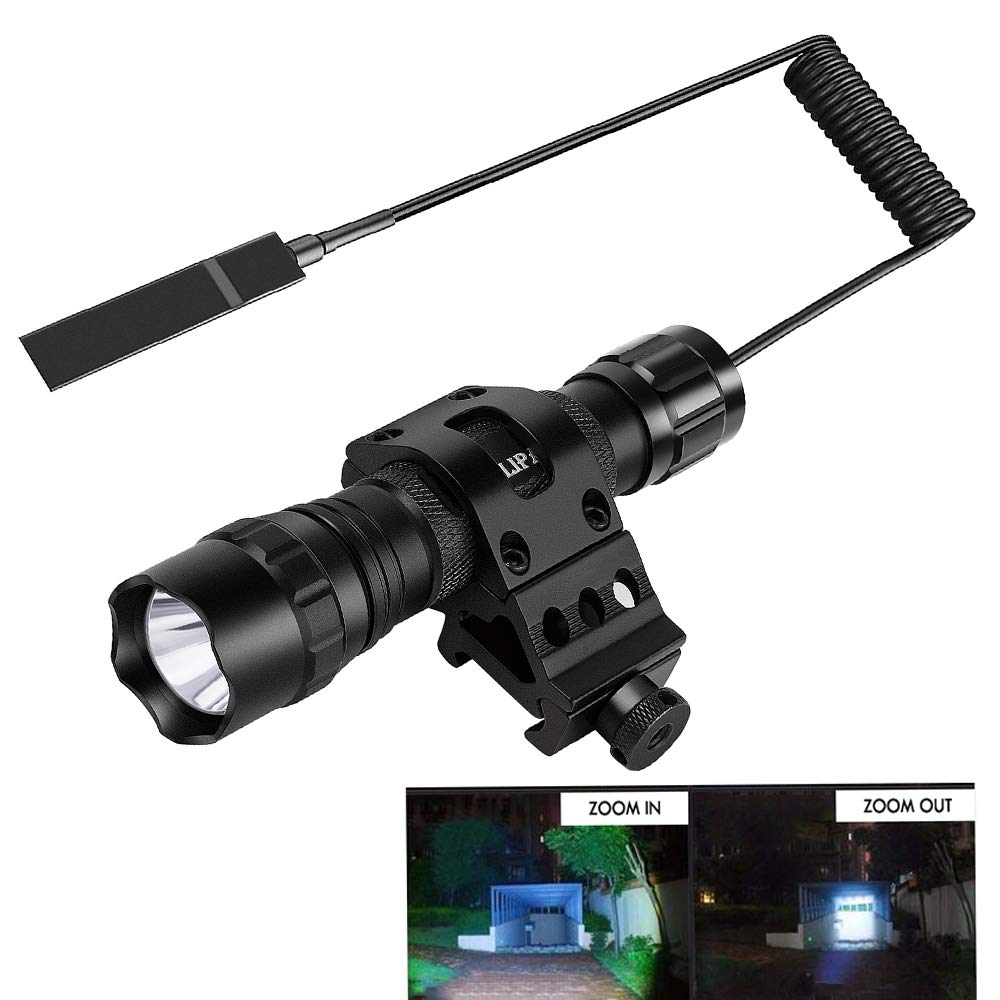 NULIPAM Tactical Flashlight Zoomable IP65 Waterproof Super Bright 1200Lumens Rail Light for AR Include Offset Mount, Pressure Switch, 18650 Rechargeable Battery