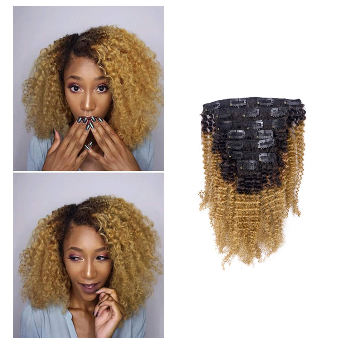 Kinkys Clip In Hair Extensions 4A 4B Afro Kinky Clip In Virgin Natural Hair Clip In Extensions Ombre Brown Blonde Natural Clip In Hair Extensions For Black Women Full Head Kinky Clip In # 1b/27 10Inch