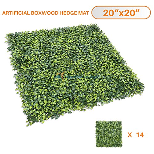 Sunshades Depot Sunshades Depot Artificial Boxwood Milan Leaf Grass Fence Privacy Screen Evergreen Hedge Panels Fake Plant Wall 20''X20'' Inch (14pcs) by Sunshades Depot
