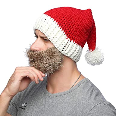 bae6a739a70 XRDSS Unisex Christmas Beanie Hat Winter Warm Knitted Santa Hat (Brown Beard)   Amazon.co.uk  Clothing