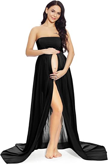 ZIUMUDY Womens Strapless See Through Lace Maternity Photography Gown Split Front Tube Dress