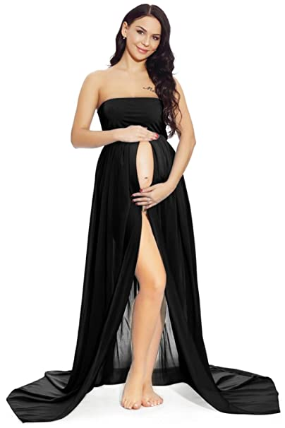 802b0943ff3f7 ZIUMUDY Maternity Chiffon Strapless Maxi Photography Dress Split Front Gown  for Photoshoot (A - Black