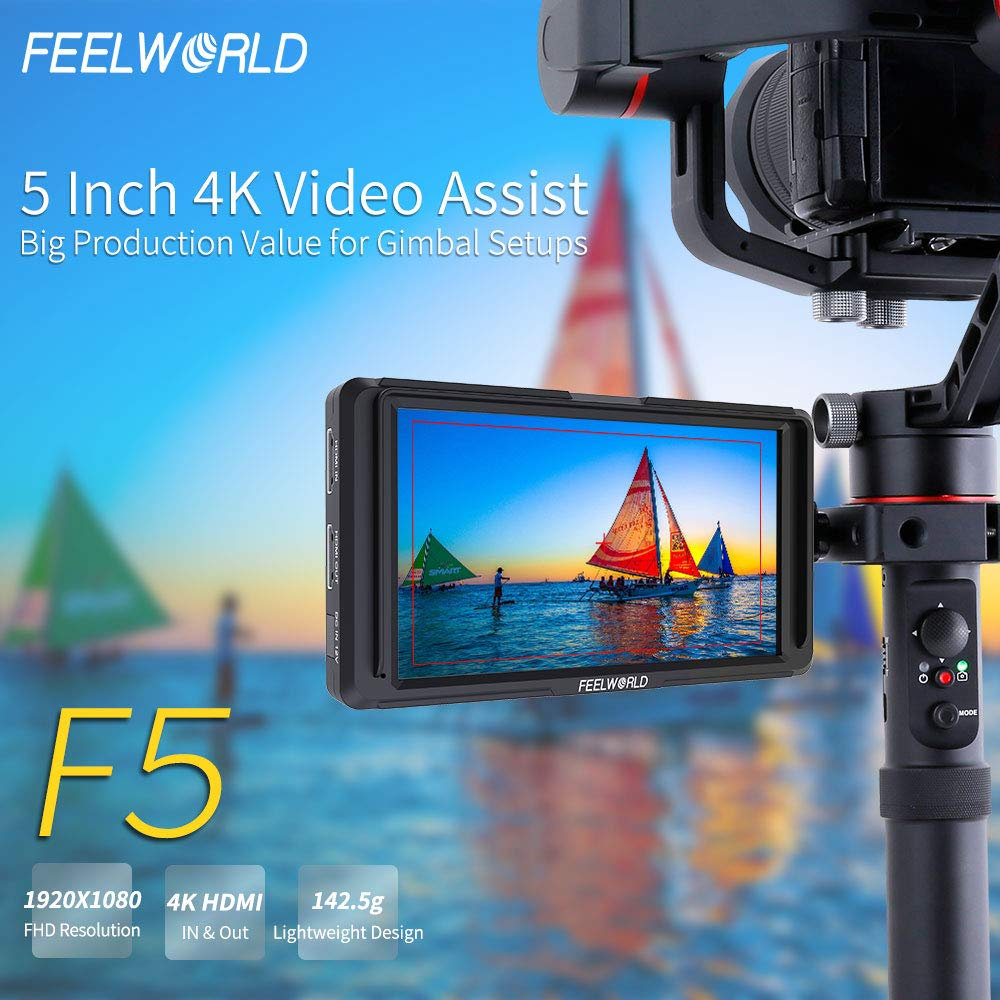 FEELWORLD F5 5 Inch DSLR On Camera Field Monitor Small Full HD 1920x1080 IPS Video Peaking Focus Assist with 4K HDMI 8.4V DC Input Output Include Tilt Arm by FEELWORLD (Image #2)