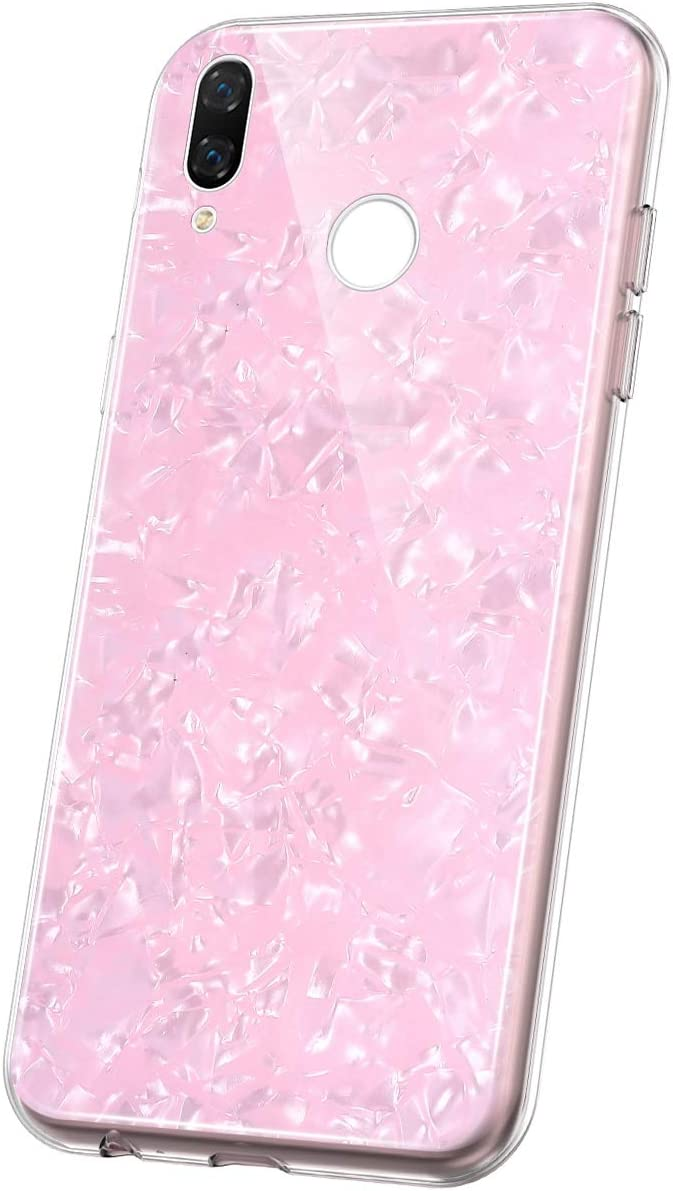 JAWSEU Funda Compatible con Xiaomi Redmi Note 7, Brillante Suave TPU Silicona Gel Goma Bumper Carcasa con Diseño Ultra Delgada Fina Cristal Antigolpes Protectora Cubierta Funda,Rosado