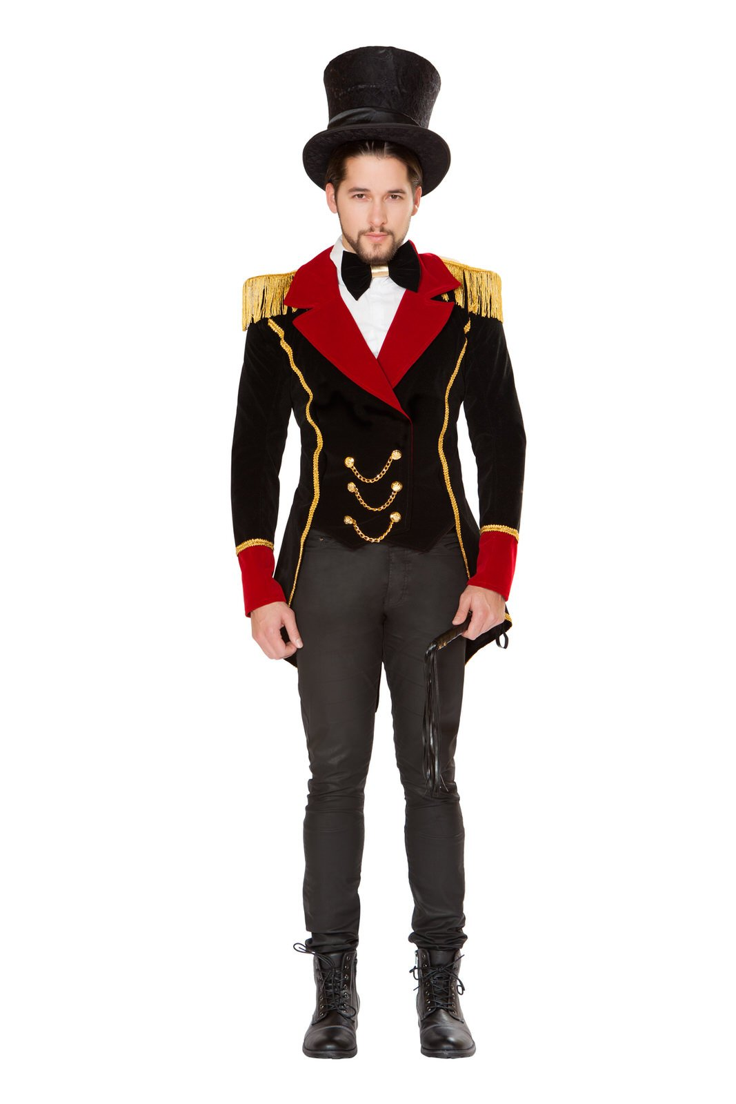 Fest Threads 3 PC Circus Ringleader Black & Red Jacket w/Accessories Party Costume