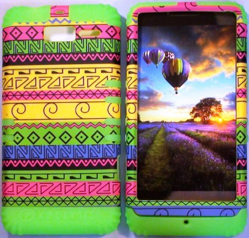 Cellphone Trendz (TM) Hybrid High Impact Bumper Case Yellow Green Aztec Tribal / Lime Green Silicone for Motorola DROID RAZR M (XT907, 4G LTE, Verizon)