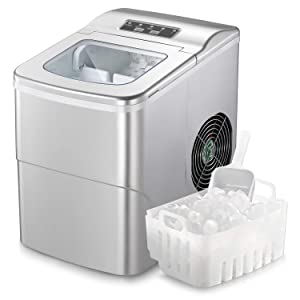Antarctic Star Ice Maker Machine Countertop,Portable Automatic 9 Ice Cubes Ready in 8 Minutes,Makes 26 lbs of Ice per 24 Hours,Self-clean,See-through Lid For Home/Bar/Party Silver