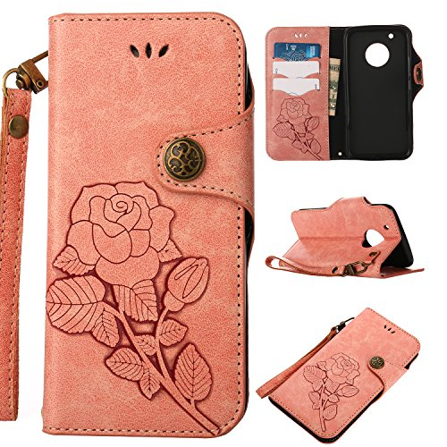 Moto G5 Plus Wallet Case,HAOTP Premium Button Folio Retro PU Wallet Leather [Emboss Rose Flower] Protective Cover with Card Slots Inner Soft TPU Bumper for Moto G5 Plus Pink
