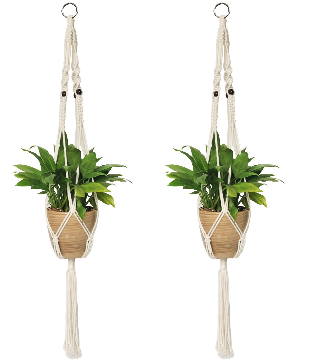 2PCS Macrame Plant Hanger Indoor Outdoor Hanging Planter Basket Cotton Rope 4 Legs 39 inch YHmall