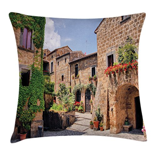 Ambesonne Farm House Decor Throw Pillow Cushion Cover by, Italian Streets in Countryside with Traditional Brick Houses Old Tuscan Prints, Decorative Square Accent Pillow Case, 16 X 16 Inches, Multi