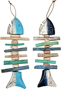 Fish Bones with Stones Wall Art, Assorted Colors, Beach Décor, Set of 2, 14 Inches