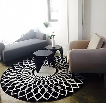 Mode scandinave tapis rond noir et blanc salon table basse chambre salle  d\'étude tapis (taille : 120cm)