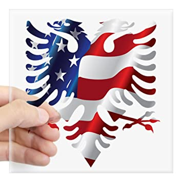 Cafepress albanian american eagle sticker square bumper sticker car decal 3x3quot